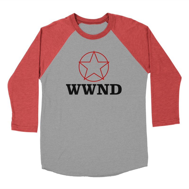 WWND in Men's Baseball Triblend Longsleeve T-Shirt Chili Red Sleeves by Drum Geek Online Shop