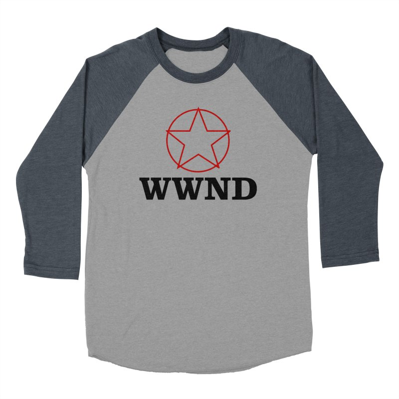 WWND in Men's Baseball Triblend Longsleeve T-Shirt Navy Sleeves by Drum Geek Online Shop