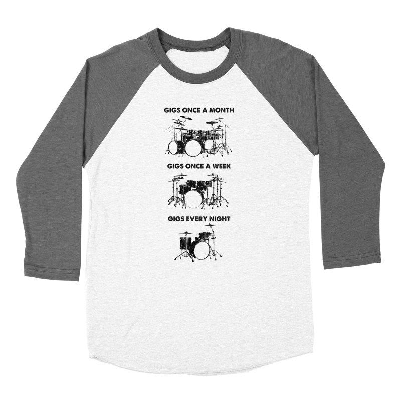 Drum Geek Plays Every Day in Men's Baseball Triblend Longsleeve T-Shirt Tri-Grey Sleeves by Drum Geek Online Shop
