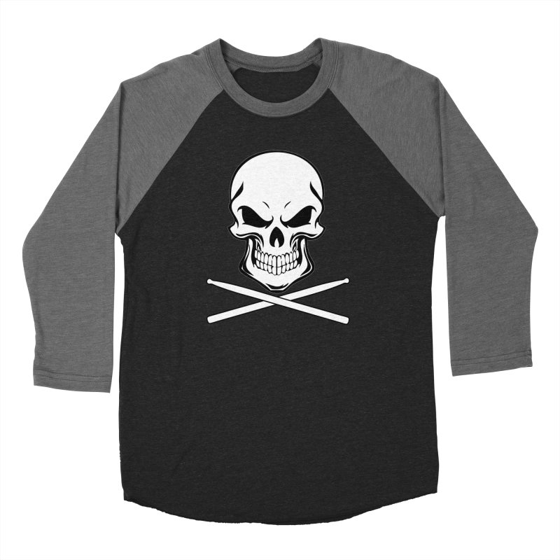 Drumskull (Bonesy) in Men's Baseball Triblend T-Shirt Grey Triblend Sleeves by Drum Geek Online Shop