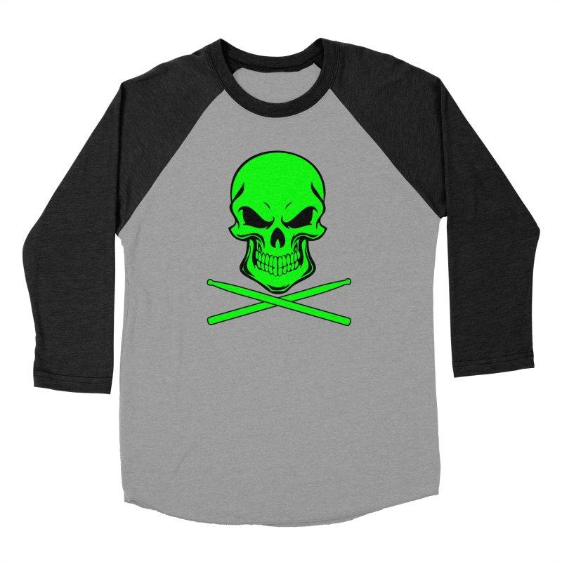 Drumskull (Bonesy Lime) Women's Baseball Triblend Longsleeve T-Shirt by Drum Geek Online Shop