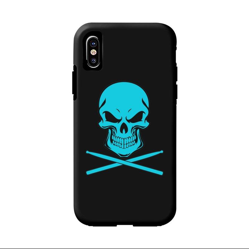 Drumskull (Bonesy Blue) in iPhone X Phone Case Tough by Drum Geek Online Shop