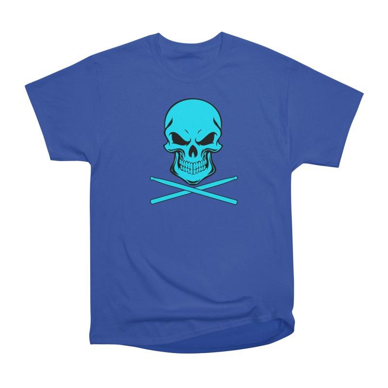 Drumskull (Bonesy Blue) in Men's Heavyweight T-Shirt Royal Blue by Drum Geek Online Shop