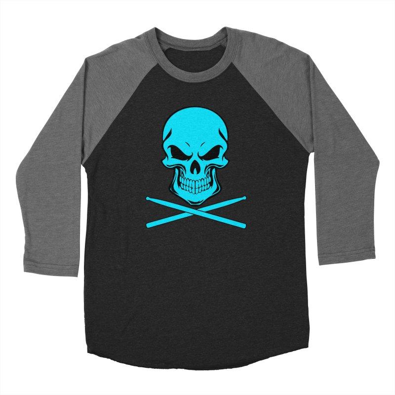 Drumskull (Bonesy Blue) Women's Baseball Triblend Longsleeve T-Shirt by Drum Geek Online Shop