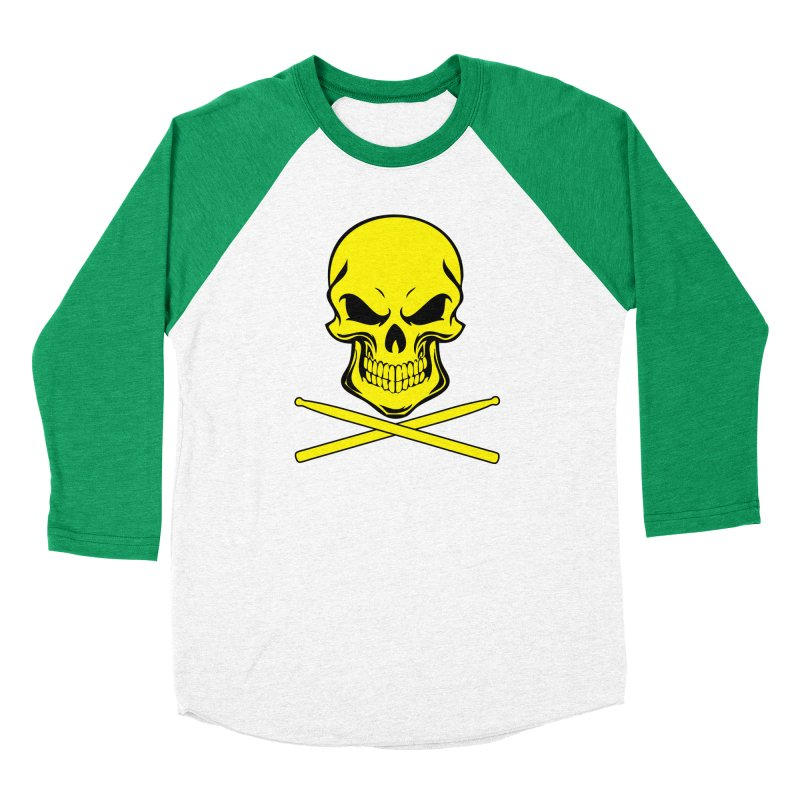 Drumskull (Bonesy Yellow) Women's Baseball Triblend Longsleeve T-Shirt by Drum Geek Online Shop