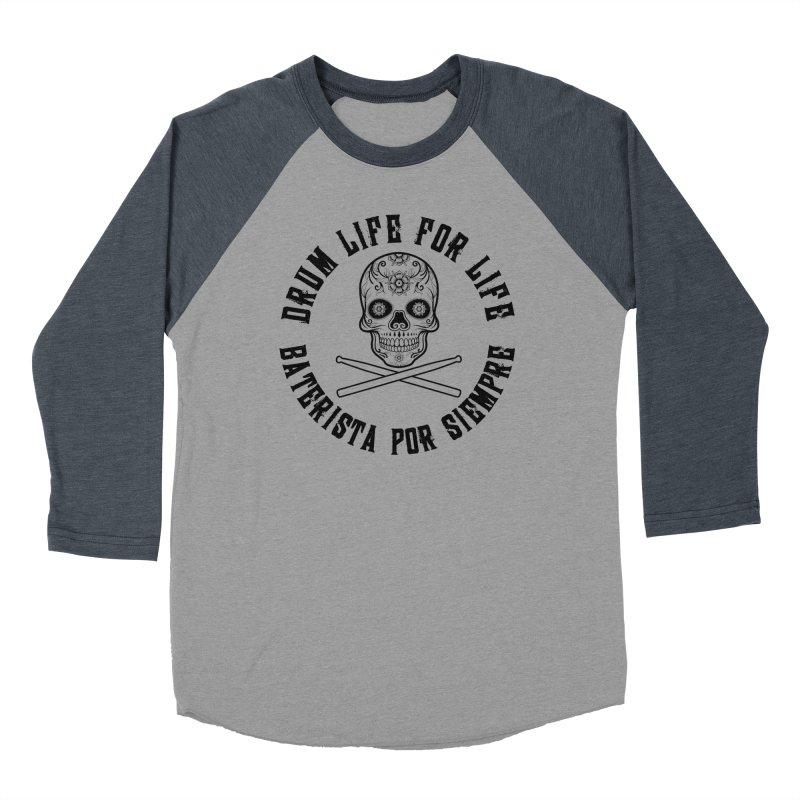 Drum Life Spainish Sugar Skull (Transparent Black) Women's Baseball Triblend Longsleeve T-Shirt by Drum Geek Online Shop