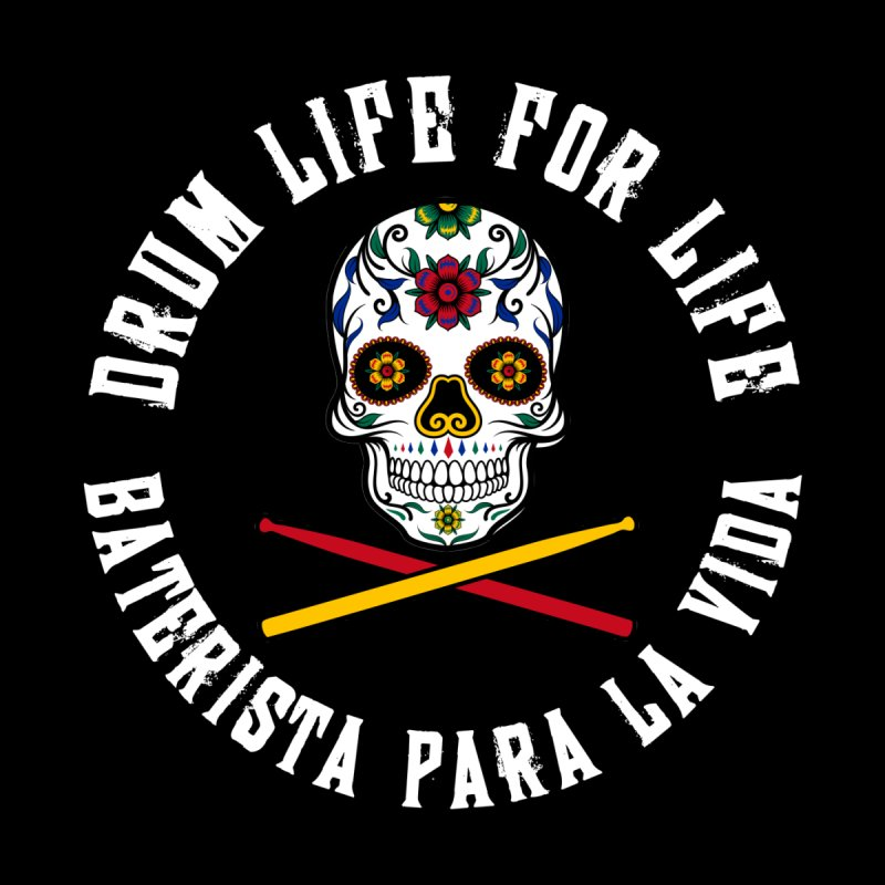 Drum Life Spain Sugar Skull (White Font/Color Skull) Men's Longsleeve T-Shirt by Drum Geek Online Shop