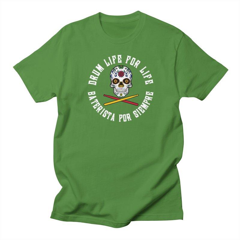 Drum Life Spain Sugar Skull (White Font/Color Skull) Men's T-Shirt by Drum Geek Online Shop