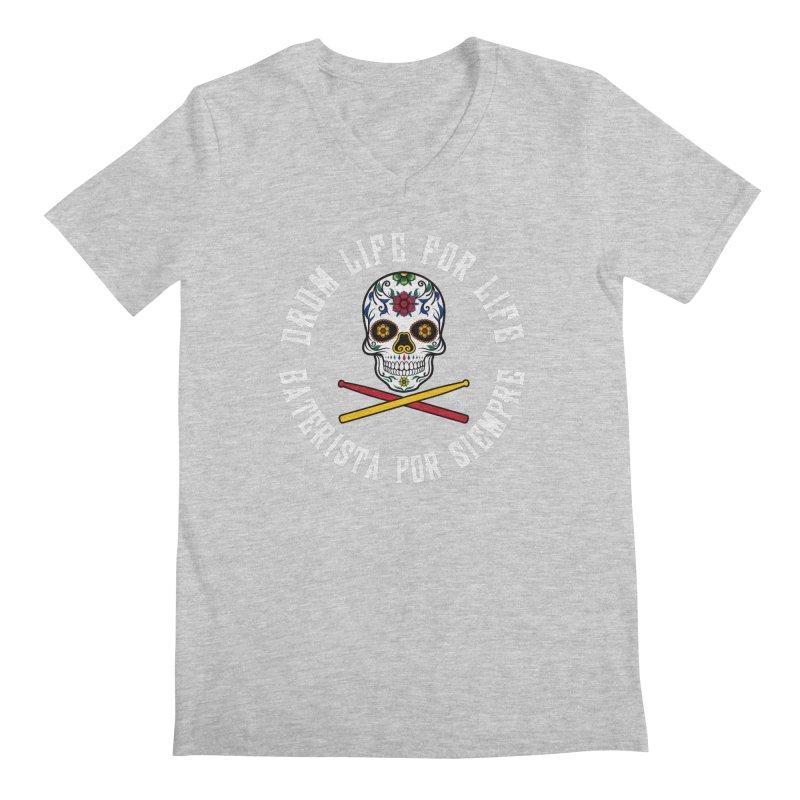 Drum Life Spain Sugar Skull (White Font/Color Skull) Men's V-Neck by Drum Geek Online Shop
