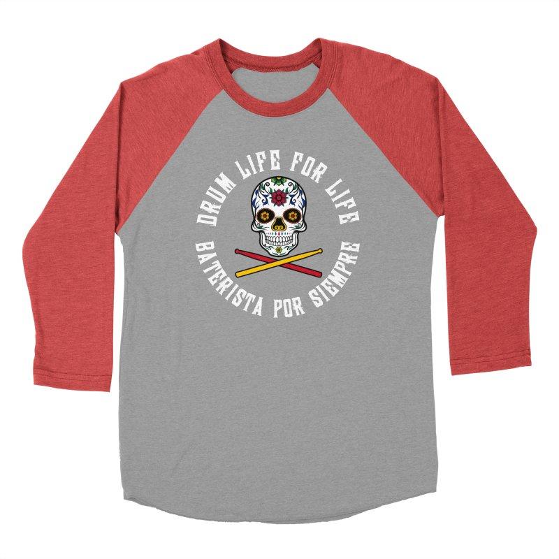 Drum Life Spain Sugar Skull (White Font/Color Skull) Women's Baseball Triblend Longsleeve T-Shirt by Drum Geek Online Shop