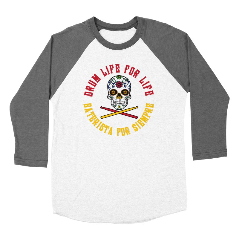 Drum Life Spanish Sugar Skull (Color Skull/Color Font) Women's Longsleeve T-Shirt by Drum Geek Online Shop