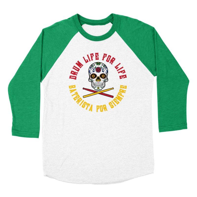 Drum Life Spanish Sugar Skull (Color Skull/Color Font) Women's Baseball Triblend Longsleeve T-Shirt by Drum Geek Online Shop