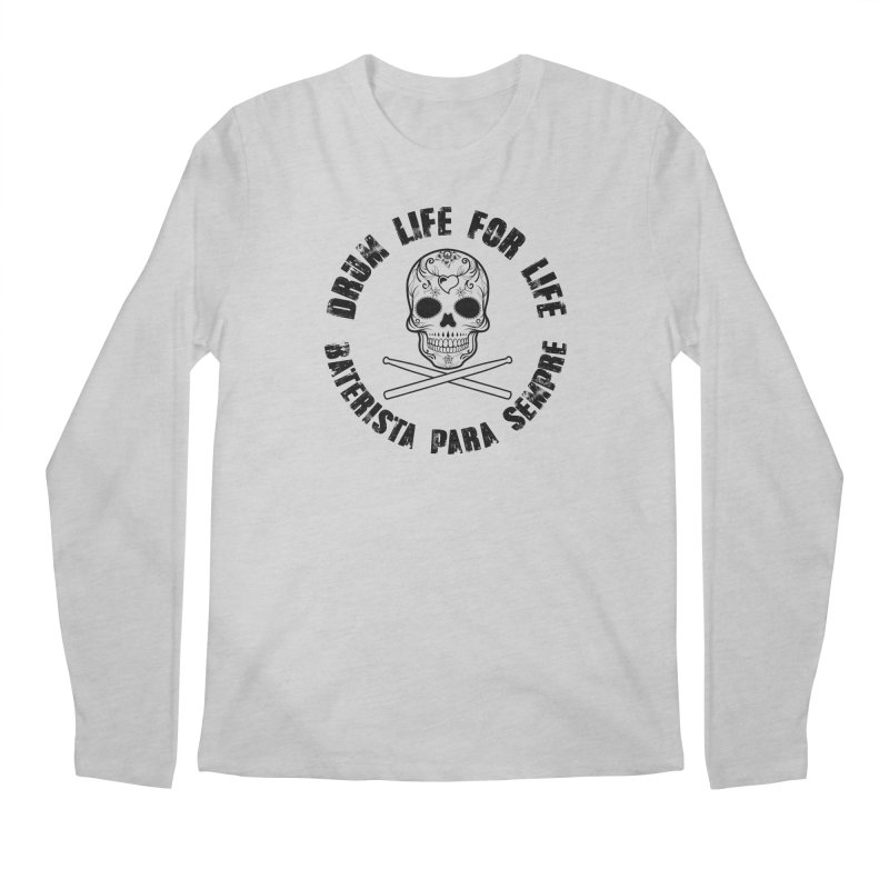 Drum Life Portuguese Sugar Skull (Transparent) Men's Regular Longsleeve T-Shirt by Drum Geek Online Shop