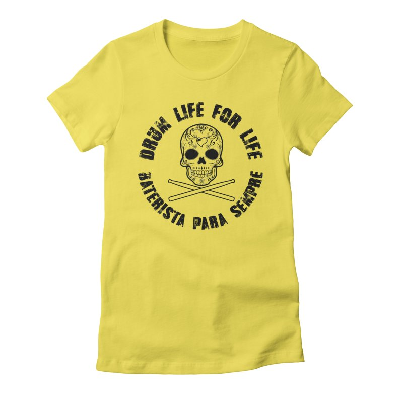Drum Life Portuguese Sugar Skull (Transparent) Women's Fitted T-Shirt by Drum Geek Online Shop