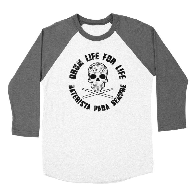 Drum Life Portuguese Sugar Skull (White Skull/Black Font) Women's Longsleeve T-Shirt by Drum Geek Online Shop