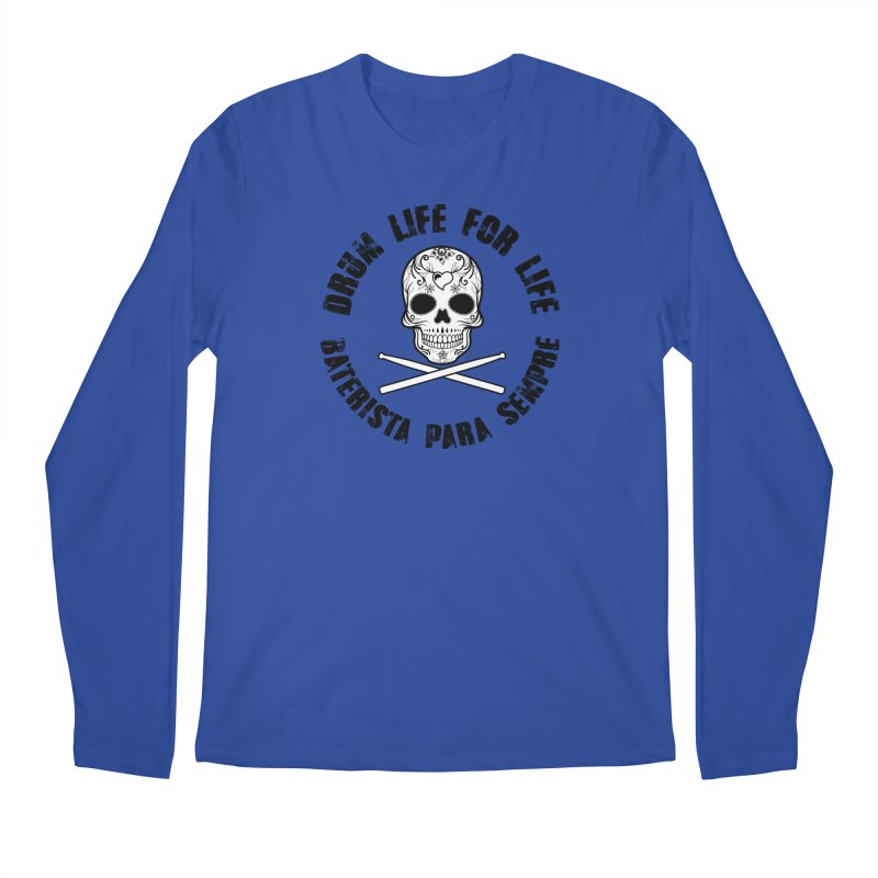 Drum Life Portuguese Sugar Skull (White Skull/Black Font) Men's Regular Longsleeve T-Shirt by Drum Geek Online Shop