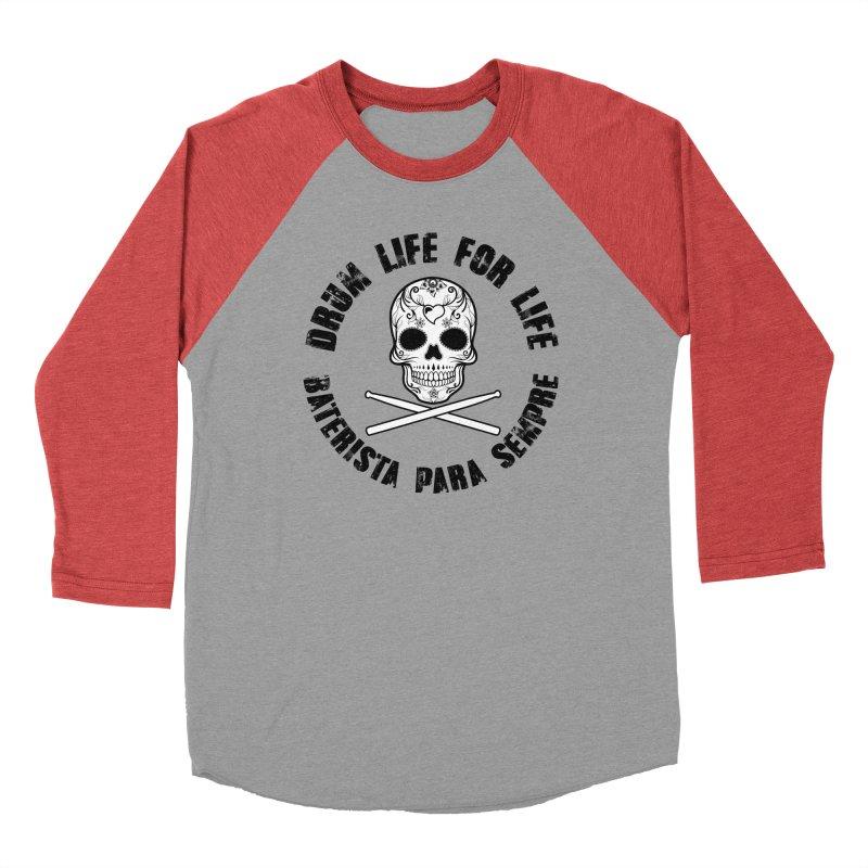 Drum Life Portuguese Sugar Skull (White Skull/Black Font) Women's Baseball Triblend Longsleeve T-Shirt by Drum Geek Online Shop