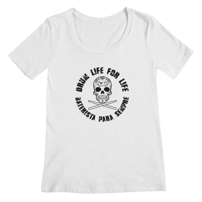 Drum Life Portuguese Sugar Skull (White Skull/Black Font) Women's Regular Scoop Neck by Drum Geek Online Shop