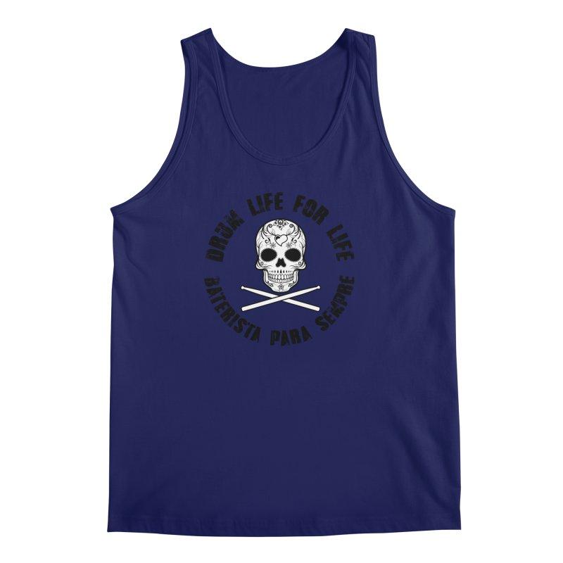 Drum Life Portuguese Sugar Skull (White Skull/Black Font) Men's Regular Tank by Drum Geek Online Shop