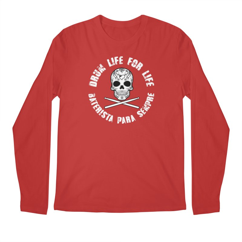 Drum Life Portuguese Sugar Skull (White Skull/White Font) Men's Regular Longsleeve T-Shirt by Drum Geek Online Shop
