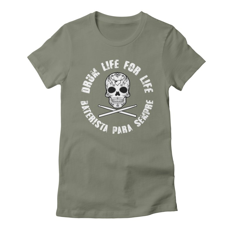 Drum Life Portuguese Sugar Skull (White Skull/White Font) Women's Fitted T-Shirt by Drum Geek Online Shop
