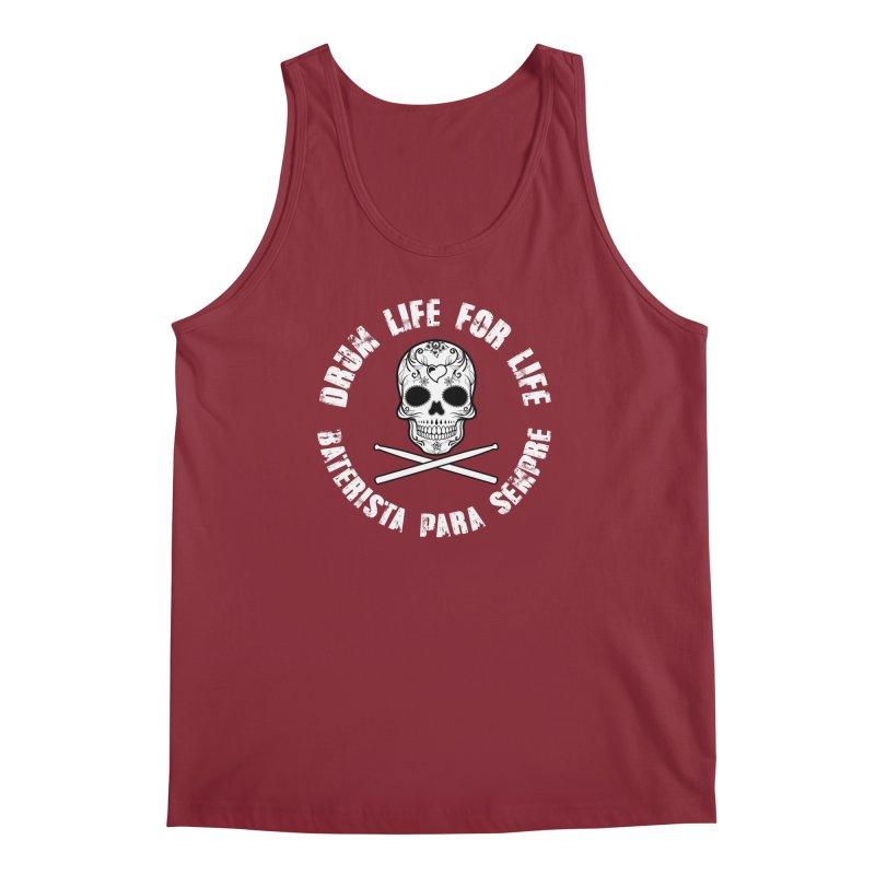 Drum Life Portuguese Sugar Skull (White Skull/White Font) Men's Regular Tank by Drum Geek Online Shop