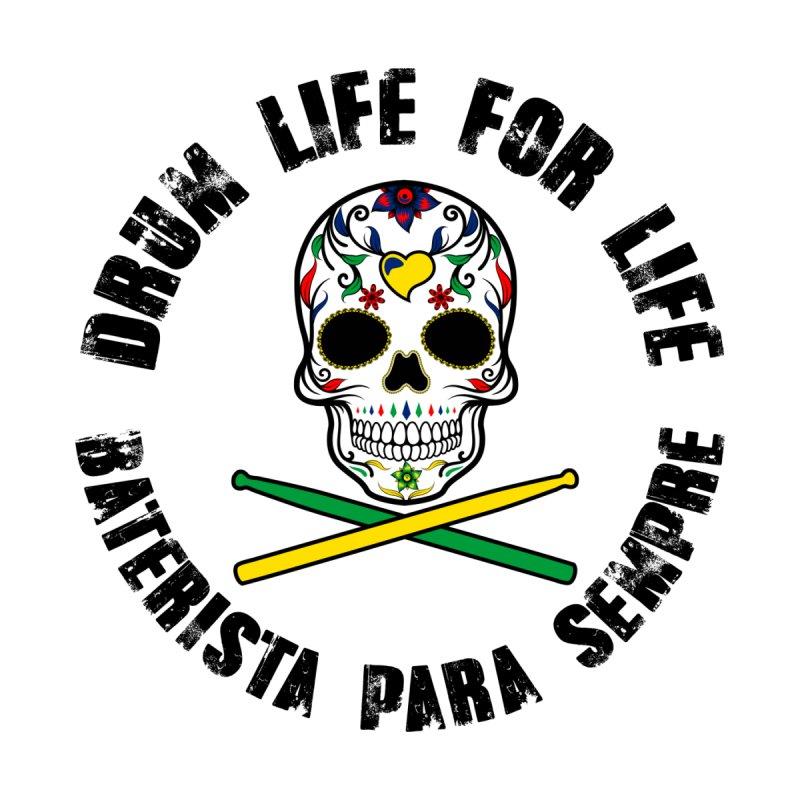 Drum Life Portuguese Sugar Skull (Color Skull/Black Font) Women's Longsleeve T-Shirt by Drum Geek Online Shop