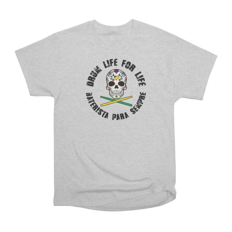 Drum Life Portuguese Sugar Skull (Color Skull/Black Font) in Men's Classic T-Shirt Heather Grey by Drum Geek Online Shop