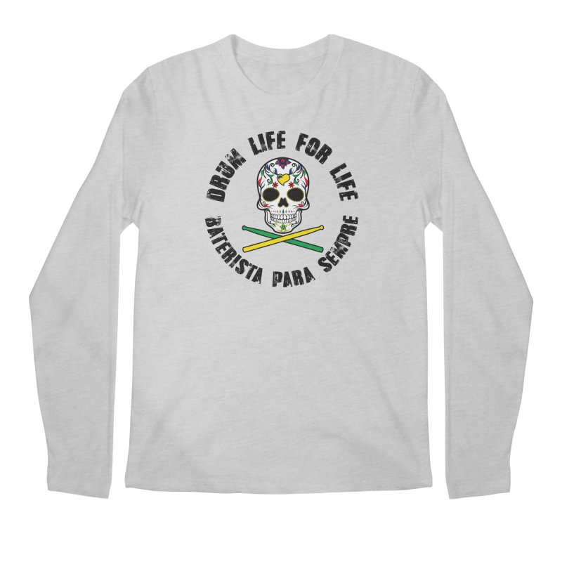 Drum Life Portuguese Sugar Skull (Color Skull/Black Font) Men's Regular Longsleeve T-Shirt by Drum Geek Online Shop