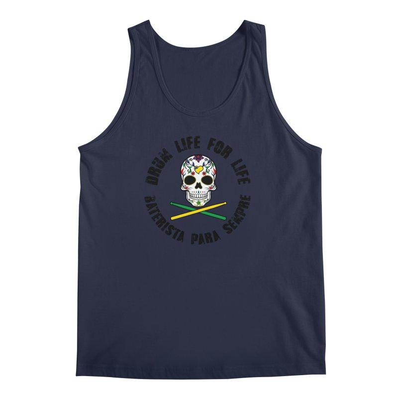 Drum Life Portuguese Sugar Skull (Color Skull/Black Font) Men's Regular Tank by Drum Geek Online Shop