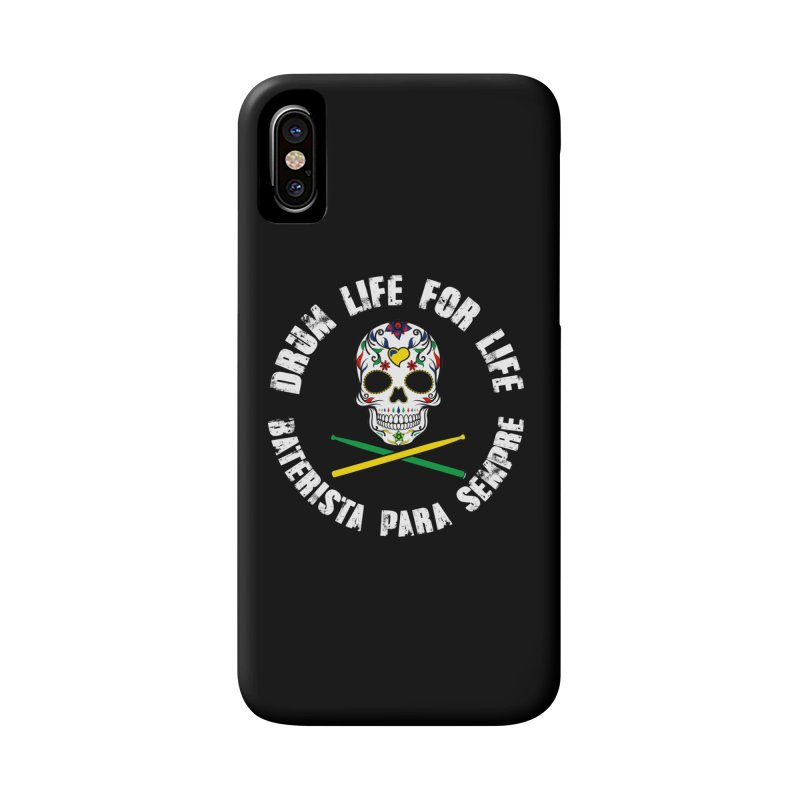 Drum Life Portuguese Sugar Skull (Color Skull/White Font) in iPhone X / XS Phone Case Slim by Drum Geek Online Shop