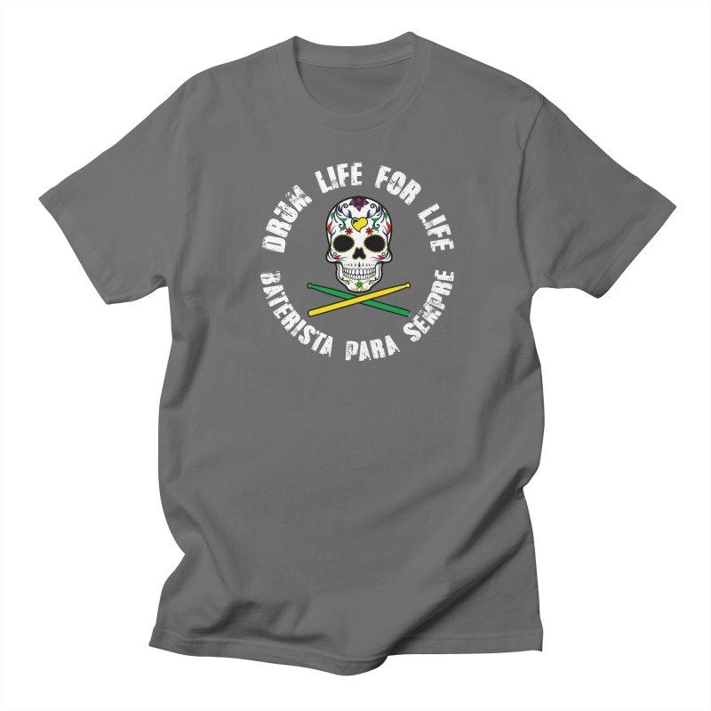 Drum Life Portuguese Sugar Skull (Color Skull/White Font) Men's T-Shirt by Drum Geek Online Shop
