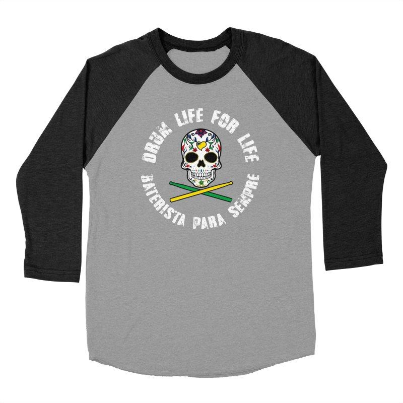 Drum Life Portuguese Sugar Skull (Color Skull/White Font) Women's Longsleeve T-Shirt by Drum Geek Online Shop
