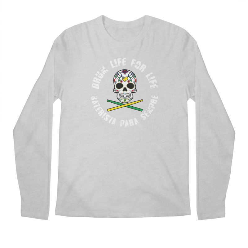 Drum Life Portuguese Sugar Skull (Color Skull/White Font) Men's Regular Longsleeve T-Shirt by Drum Geek Online Shop