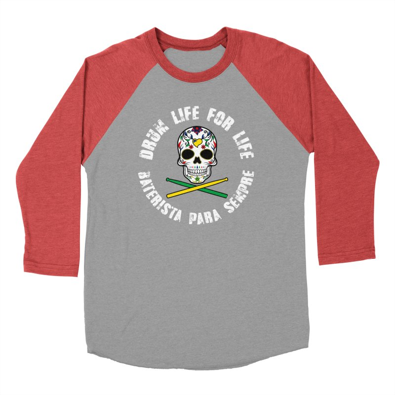Drum Life Portuguese Sugar Skull (Color Skull/White Font) Women's Baseball Triblend Longsleeve T-Shirt by Drum Geek Online Shop