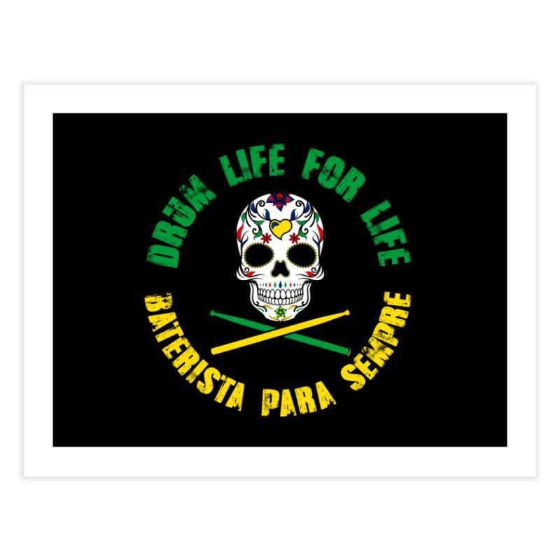 Drum Life Portuguese Sugar Skull (Color Skull/Color Font) Home Fine Art Print by Drum Geek Online Shop