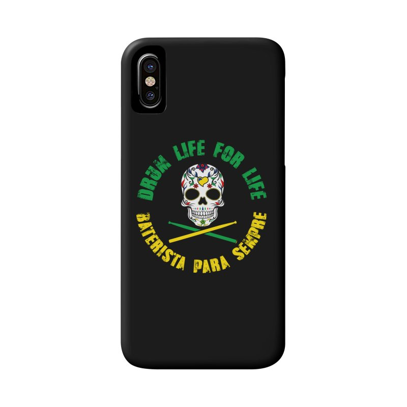 Drum Life Portuguese Sugar Skull (Color Skull/Color Font) Accessories Phone Case by Drum Geek Online Shop
