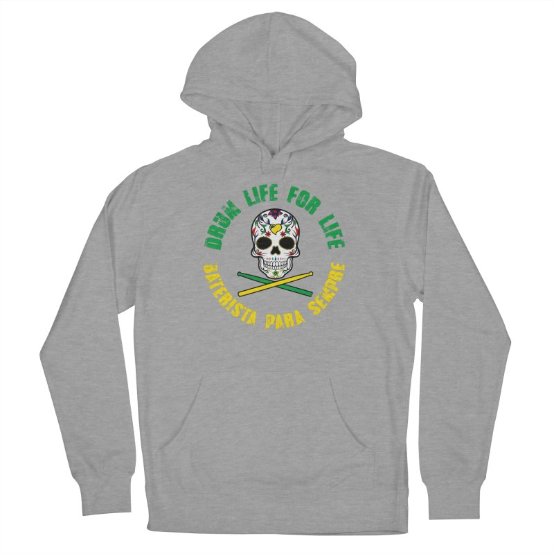 Drum Life Portuguese Sugar Skull (Color Skull/Color Font) Women's Pullover Hoody by Drum Geek Online Shop