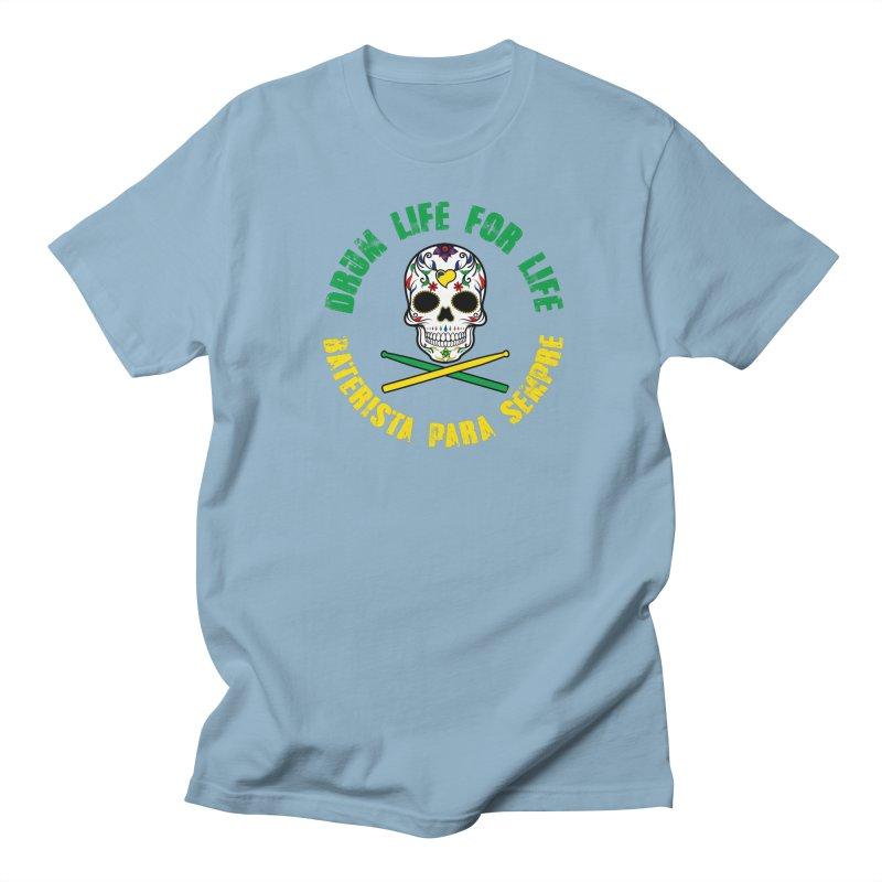 Drum Life Portuguese Sugar Skull (Color Skull/Color Font) Men's T-Shirt by Drum Geek Online Shop