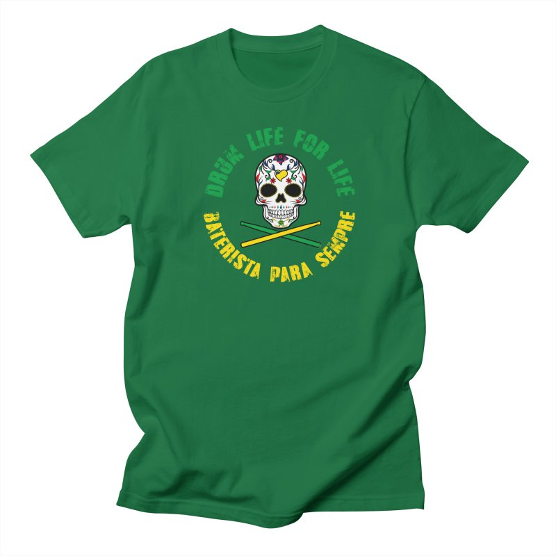Drum Life Portuguese Sugar Skull (Color Skull/Color Font) Men's T-Shirt by Drum Geek Online Shop