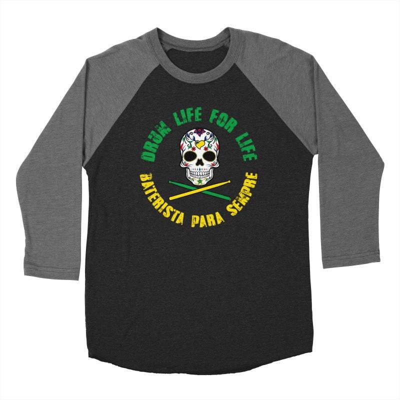 Drum Life Portuguese Sugar Skull (Color Skull/Color Font) in Men's Baseball Triblend Longsleeve T-Shirt Grey Triblend Sleeves by Drum Geek Online Shop