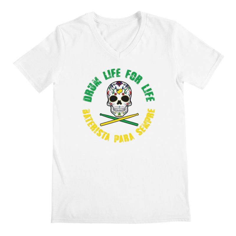 Drum Life Portuguese Sugar Skull (Color Skull/Color Font) Men's V-Neck by Drum Geek Online Shop