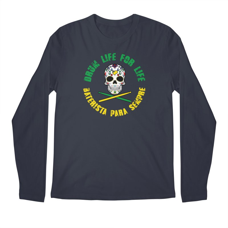 Drum Life Portuguese Sugar Skull (Color Skull/Color Font) Men's Regular Longsleeve T-Shirt by Drum Geek Online Shop