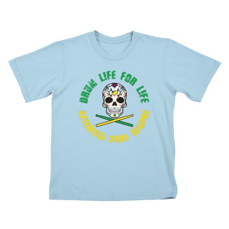 Drum Life Portuguese Sugar Skull (Color Skull/Color Font) Kids T-Shirt by Drum Geek Online Shop