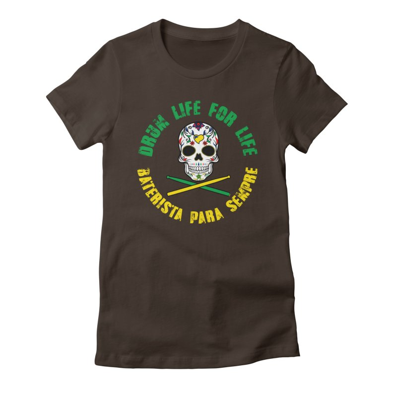 Drum Life Portuguese Sugar Skull (Color Skull/Color Font) Women's T-Shirt by Drum Geek Online Shop