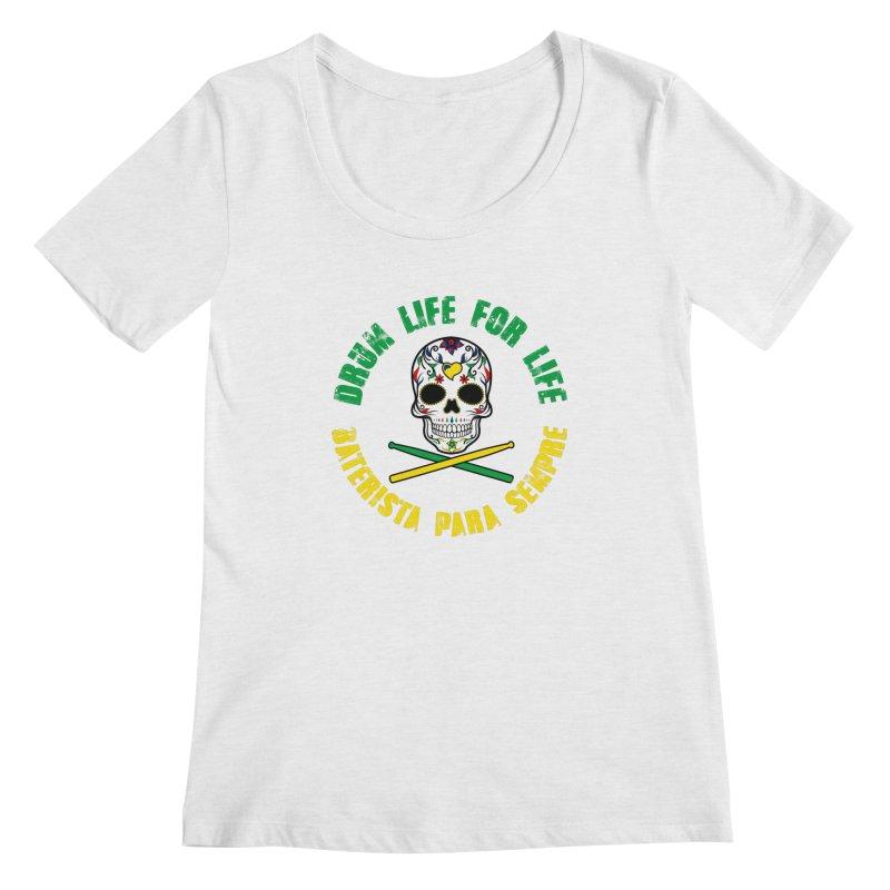 Drum Life Portuguese Sugar Skull (Color Skull/Color Font) Women's Regular Scoop Neck by Drum Geek Online Shop