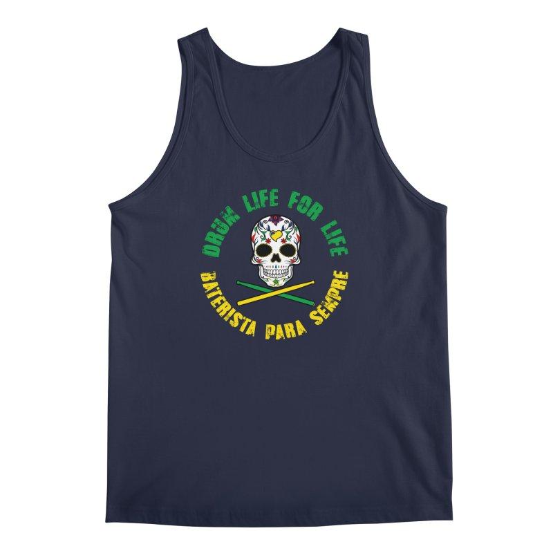 Drum Life Portuguese Sugar Skull (Color Skull/Color Font) Men's Regular Tank by Drum Geek Online Shop