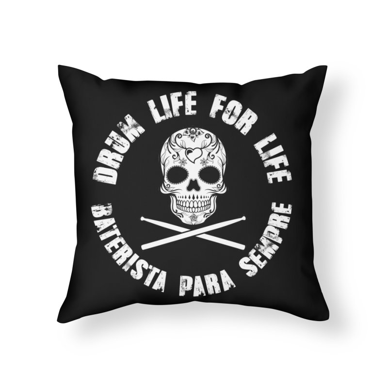 Drum Life Portuguese Sugar Skull (Black Couture) in Throw Pillow by Drum Geek Online Shop