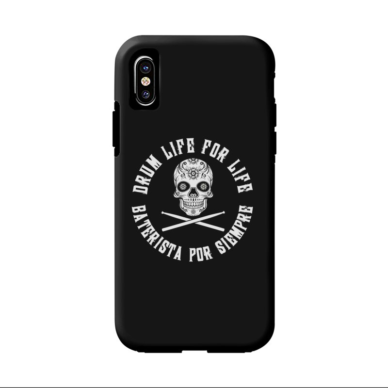 Drum Life Spanish Sugar Skull (Black Couture) in iPhone X / XS Phone Case Tough by Drum Geek Online Shop