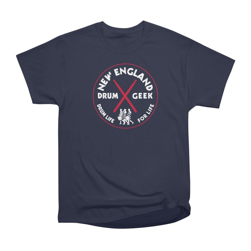 New England Drum Geek (Patriot Couture Alternate) in Men's Heavyweight T-Shirt Navy by Drum Geek Online Shop